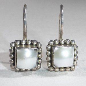 Silpada Sterling Silver Pearl Button Earrings